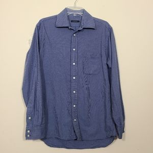Burberry London Men Blue Striped Button Down Shirt